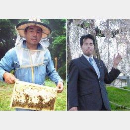 スズメバチと格闘する毎日を送る鈴木さん(右は営業マン時代)/(C)日刊ゲンダイ