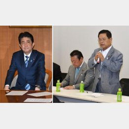 自民党「日本の明日を創る会」メンバー(写真右)と安倍首相(C)日刊ゲンダイ
