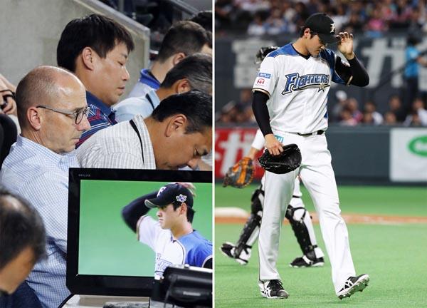 大谷の投球をチェックしたヤンキースのキャッシュマンGM(左)は「ノーコメント」(C)共同通信社