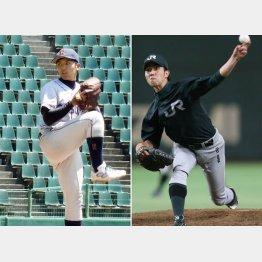 立命大の東投手(左)とJR東海の田嶋投手(C)共同通信社