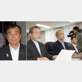 今治市長(左)と加計学園幹部/(C)共同通信社