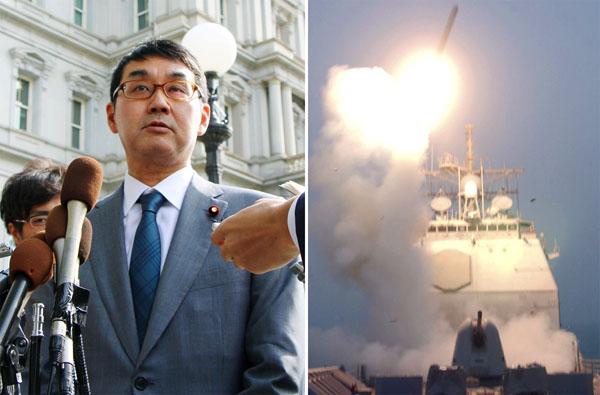 巡航ミサイル「トマホーク」(右)購入に言及した河井首相外交特別補佐(C)共同通信社