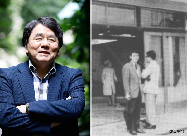 赤川次郎氏(右は就職したての頃、一番若かった)/(提供写真)