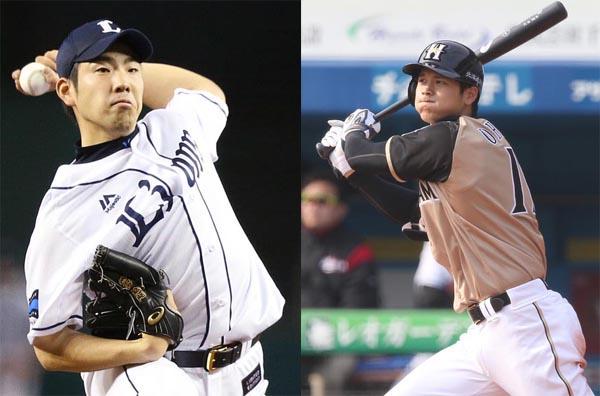 メジャースカウトの注目を浴びる西武・菊池(左)と日ハム・大谷(C)日刊ゲンダイ
