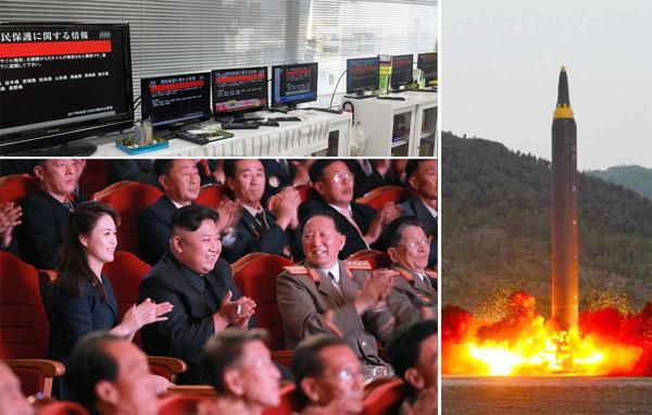 ミサイル発射でまた一斉にJアラートが…(左上)/(C)朝鮮通信=共同