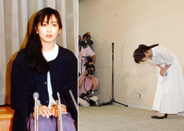 写真左は川崎麻世との不倫の謝罪会見(C)日刊ゲンダイ