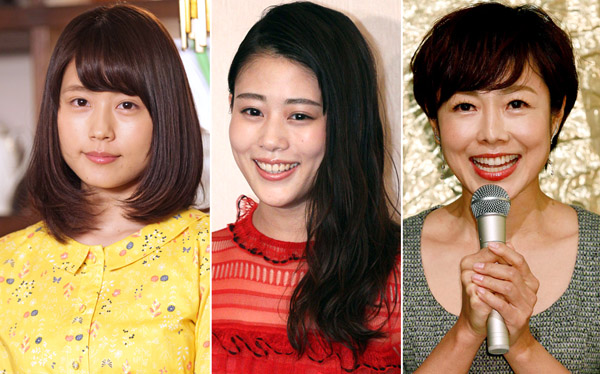 (左から)有村架純、高畑充希、NHK有働由美子アナ(C)日刊ゲンダイ