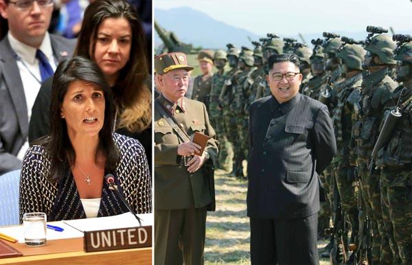 ヘイリー米国連大使(AP)と金正恩委員長(コリアメディア=共同通信社)