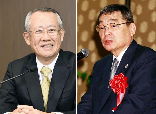NHKの上田良一現会長と籾井前会長(C)共同通信社