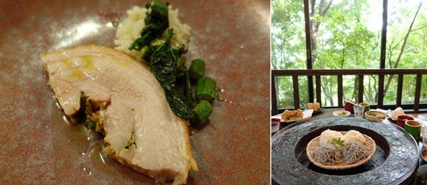 「Pesceco」の豚肉(左)と湧き水の流しそうめん/(C)日刊ゲンダイ