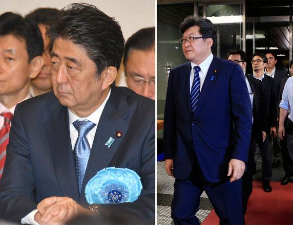 北朝鮮危機が迫っているなら選挙などやっている暇はない(右は萩生田自民党幹事長代行)/(C)日刊ゲンダイ