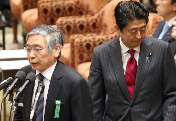 安倍首相と黒田総裁のコンビは続く(C)日刊ゲンダイ