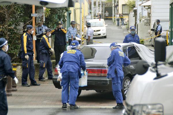 12日、発砲事件のあった現場(C)共同通信社