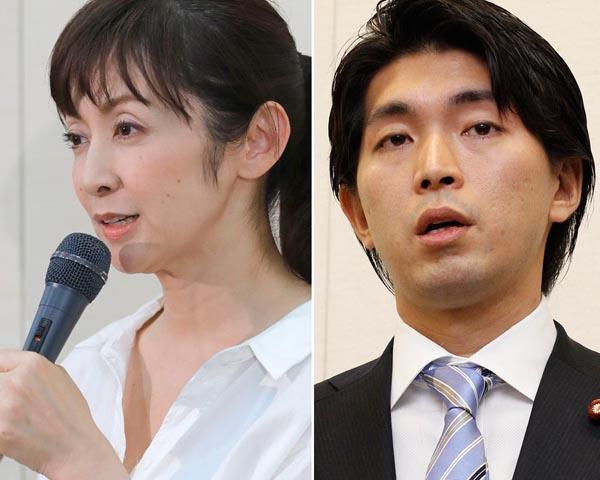 斉藤由貴(左)と議員を辞職した宮崎謙介(C)日刊ゲンダイ
