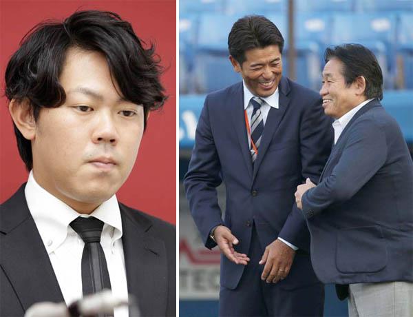 (左から)巨人・山口、侍ジャパン稲葉監督と鹿取GM(C)日刊ゲンダイ