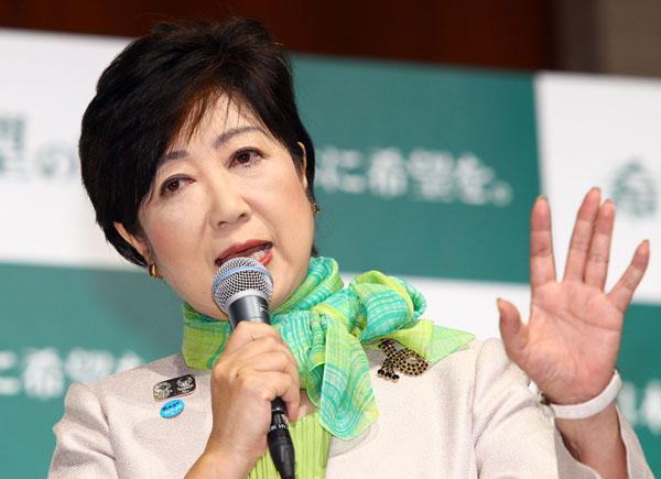 「希望の党」結党会見をする小池代表/(C)日刊ゲンダイ