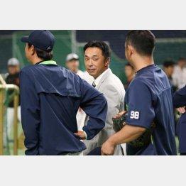 """コーチ陣も""""宮本詣で""""(C)日刊ゲンダイ"""