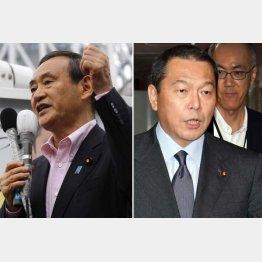 2区の菅官房長官(左)と3区の小柴木大臣/(C)日刊ゲンダイ