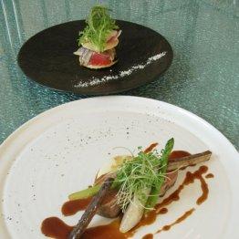 神戸ポークフィレ肉のアルロネーズ風ジャガイモのムース季節野菜(下)