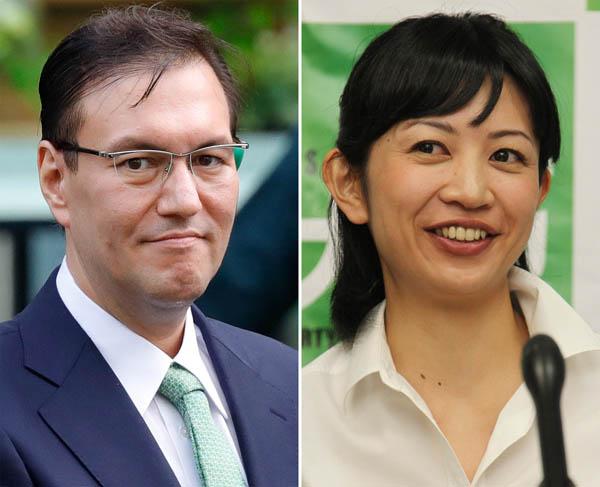 鳩山太郎氏(左)と吉羽美華氏/(C)日刊ゲンダイ