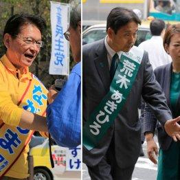 危機感を募らせる長妻昭候補(左)と娘の指示を仰ぐ荒木章博候補