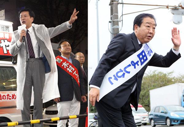 野田元首相は交差点に1時間半(右)、自民応援の森田健作知事は滞在わずか4分/(C)日刊ゲンダイ