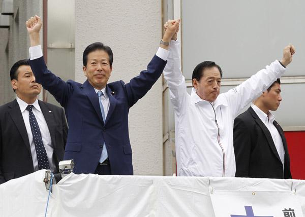 今月2日、太田前代表の応援に入った山口代表(C)日刊ゲンダイ
