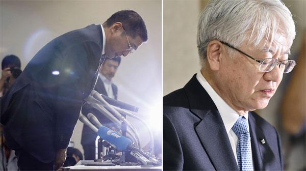 謝罪会見する日産・西川社長(左)と神戸製鋼所・川崎会長/(C)共同通信社