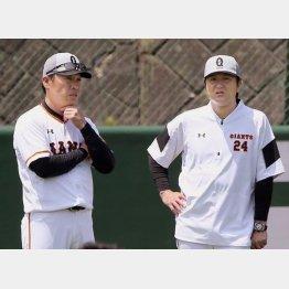 田畑氏(左)の流出に由伸監督も頭が痛い(C)日刊ゲンダイ