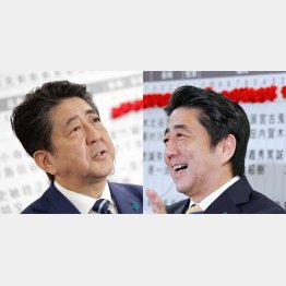 今回の選挙(写真左)と前回(2014年)の表情の差/(C)日刊ゲンダイ