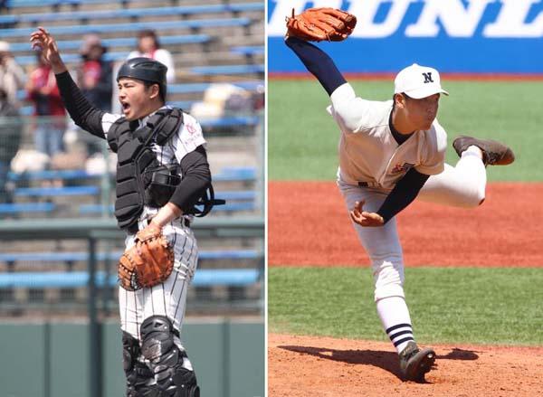 左から村上宗隆(九州学院=「ホームラン提供)と桜井周斗(日大三)/(C)日刊ゲンダイ