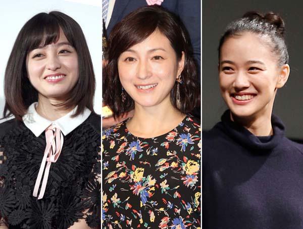 左から橋本環奈、広末涼子、蒼井優(C)日刊ゲンダイ