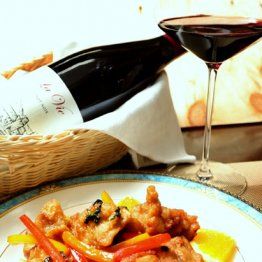 【鶏唐揚げの煎り付け ミント風味】ミントきつめの香りがワインに合う
