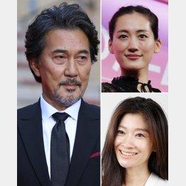 左から時計回りで役所広司、綾瀬はるか、篠原涼子(C)日刊ゲンダイ