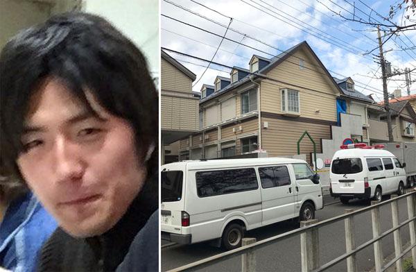 白石隆浩容疑者(SNSから)と遺体が発見された現場アパート(C)日刊ゲンダイ