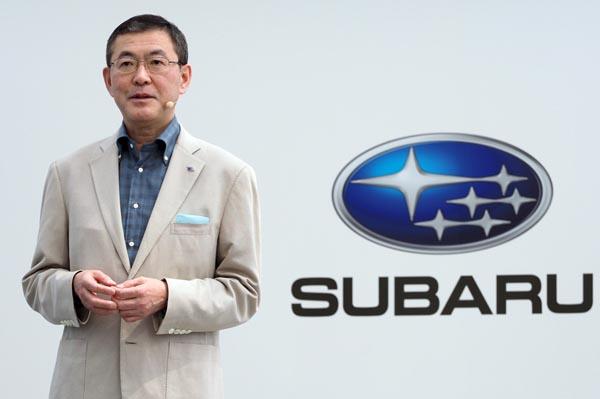 4月のスバルXV発表会での吉永社長(C)日刊ゲンダイ