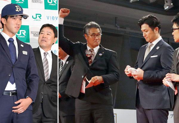 田嶋を獲得したオリックス(左)と清宮に続き村上でもくじを外した巨人・高橋監督(右)(C)日刊ゲンダイ