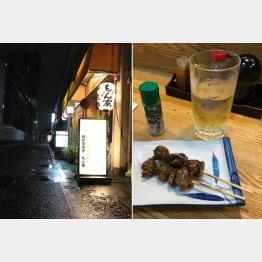 夜の地藏通り商店街もいい雰囲気(右はウナギの肝焼きとクワ茶割り)/(C)日刊ゲンダイ