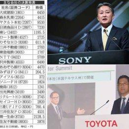 ソニー平井社長(上)と決算発表するトヨタの永田副社長