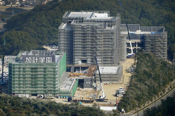 加計学園が建設中の岡山理科大獣医学部(C)共同通信社