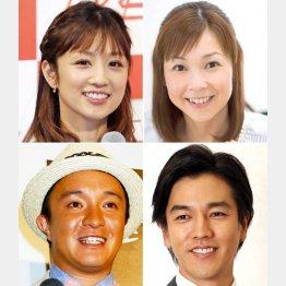 左上から時計回りに、小倉優子、はしのえみ、要潤、濱田岳(C)日刊ゲンダイ