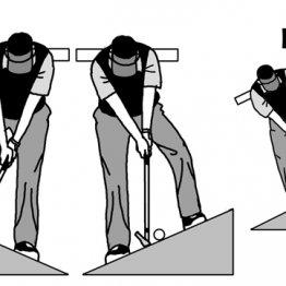 傾斜地でも上体は平地と同じように水平に構える