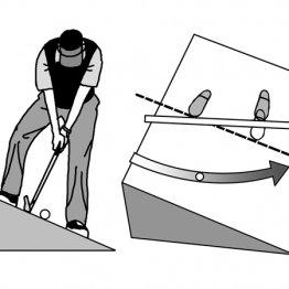 下り傾斜はボールを上げようとすれば難しくなる