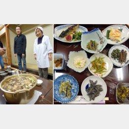「津軽あかつきの会」のお母さんたちと天然キノコ汁と郷土料理(右)/(C)日刊ゲンダイ