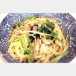 野菜ときのこの和風ぺペロンチーノ(C)日刊ゲンダイ