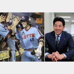 ロッテ時代(左)のG.G.佐藤さん/(C)共同通信社