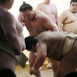 出稽古で田子ノ浦部屋を訪れ、新横綱の稀勢の里と汗を流す白鵬