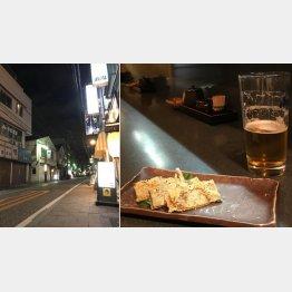 旧東海道沿いは今も味がある(右は畳いわしチーズ焼き)/(C)日刊ゲンダイ