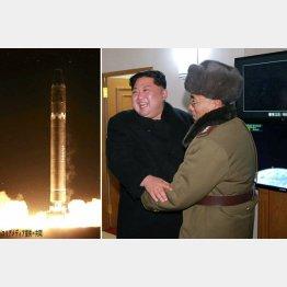 ICBM「火星15」と発射実験の成功を喜ぶ金正恩朝鮮労働党委員長(C)ロイター=共同