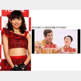 元欅坂46の渡辺美優紀(左)は「アリババ」に出店、ピコ太郎は中国大手自動車販売会社CMに出演(HPから)/(C)日刊ゲンダイ
